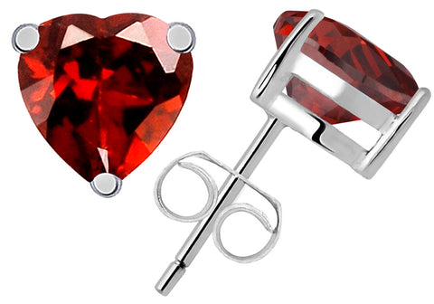 1.7 Cts Red Garnet 'Heart' Sterling Silver Stud Earrings For Women