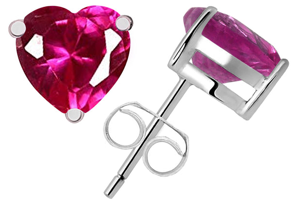 Sterling Silver Stud Earrings 1.28 Cts Created Ruby For Girls,Womens