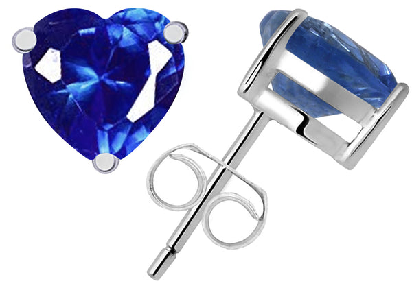 1.15 Cts Created Sapphire 'Heart' Sterling Silver Stud Earrings for Girls