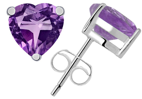 1.26 Ct Purple Amethyst Heart Shape Sterling Silver Stud Earring