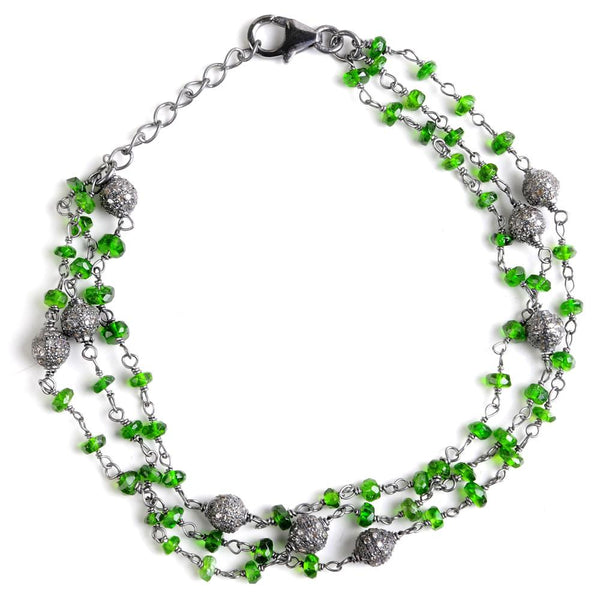 Jeweltique Designs Sterling Silver 15.80 Carat Diamond & Chrome Diopside Bracelet