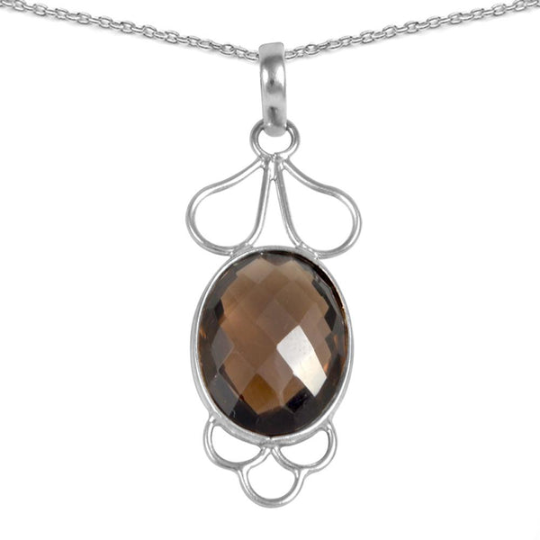 Orchid Jewelry 13.00 Carat Genuine Smoky Quartz Sterling Silver Necklace