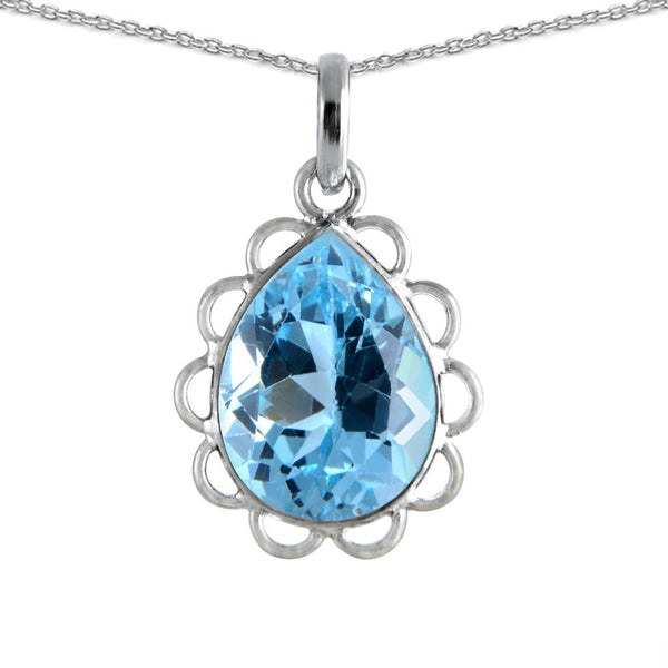 Pear Shaped Blue Topaz Necklace in Sterling Silver