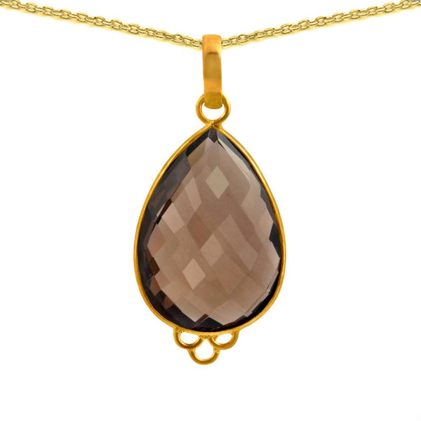 Orchid Jewelry 24.00 Carat Genuine Smoky Quartz Sterling Silver Necklace