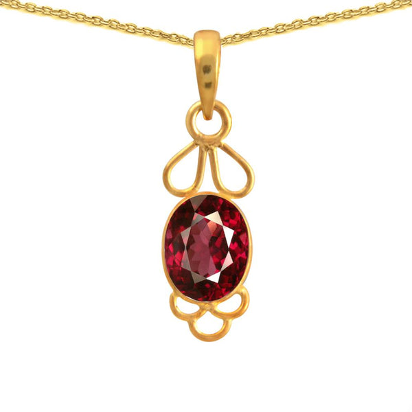 Orchid Jewelry 3.66 Carat Ruby 925 Sterling Silver Necklace with 14k Gold Plated