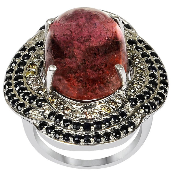 Jeweltique Designs One of A Kind 23.53 Carat Genuine Tourmaline, Diamond & Sapphire 925 Sterling Silver Ring