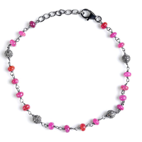 Jeweltique Designs Sterling Silver 12.86 Carat Diamond & Ruby Beads Bracelet
