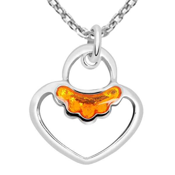 Essence Jewelry 925 Sterling Silver Heart Shape Pendant Necklace