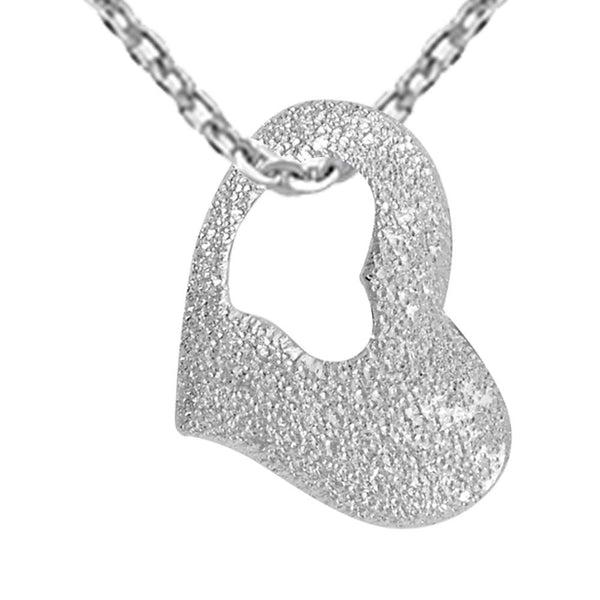 Essence Jewelry 925 Sterling Silver Heart Shaped Pendant Necklace