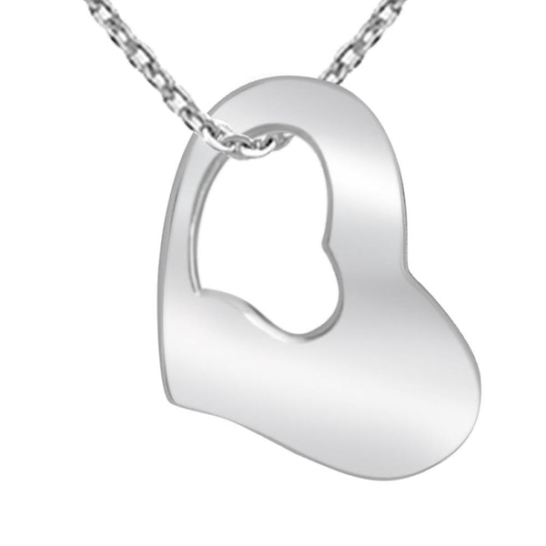 Essence Jewelry 925 Sterling Silver Plain Heart Necklace