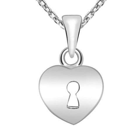 Essence Jewelry Rhodium Plated 925 Sterling Silver Locked Heart Pendant Necklace