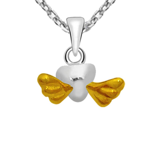 Essence Jewelry Two Tone plated 925 Sterling Silver Flying Heart Necklace