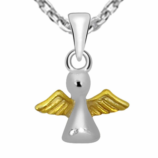 Essence Jewelry 925 Sterling Silver Two Tone Brid Charm Necklace