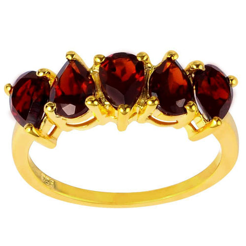 Orchid Jewelry 2.50 Carat Garnet 14K Yellow Gold Palted Silver Ring