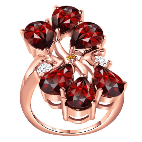 Orchid Jewelry 6.00 Carat Garnet, White Topaz & Citrine Sterling Silver Rose Gold Plated Ring