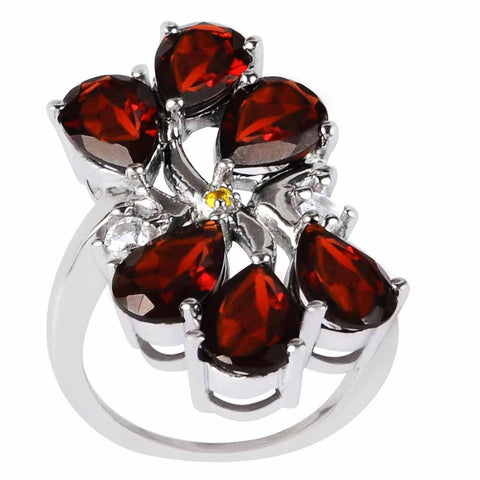 Orchid Jewelry's 6.00 Carat Garnet,Topaz & Citrine Sterling Silver Ring