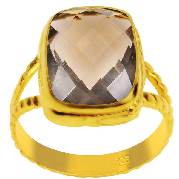 Orchid Jewelry 8.00 Carat Smoky Quartz 14K Yellow Gold Plated Ring