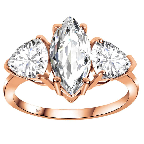 Orchid Jewelry 3.85 Carat White Topaz 925 Sterling Silaver Rose Gold Plated  Ring