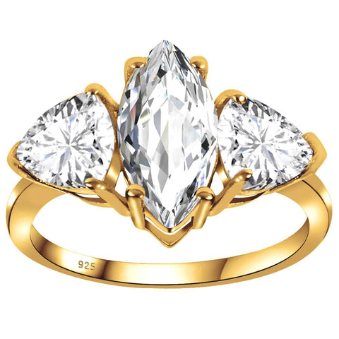 Orchid Jewelry 3.86 Carat White Topaz 925 Sterling Silver Yellow 14k Gold Plated  Ring
