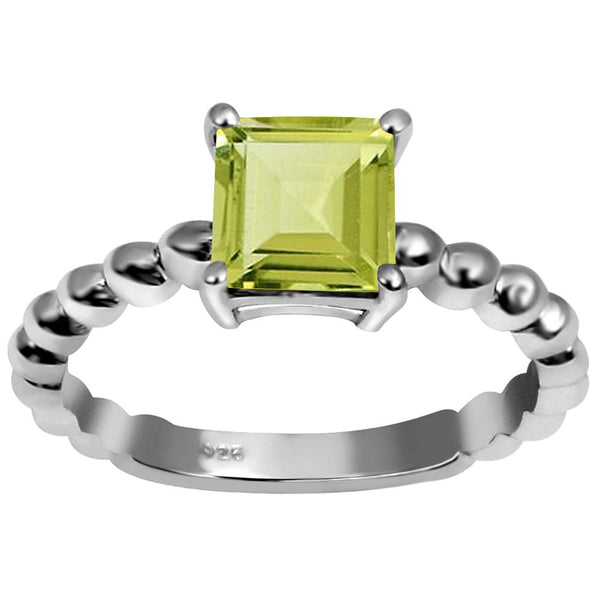Orchid Jewelry 1.00 Carat Weight Genuine Lemon Quartz 925 Sterling Silver Ring