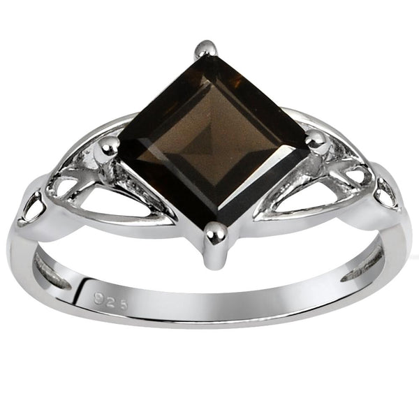 Orchid Jewelry 1.40 Carat Weight Genuine Smoky Quartz 925 Sterling Silver Ring