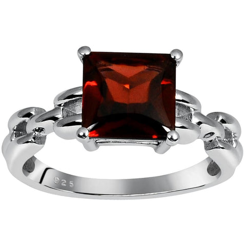 Orchid Jewelry 3.00 Carat Genuine Garnet 925 Sterling Silver Ring With Designer Band
