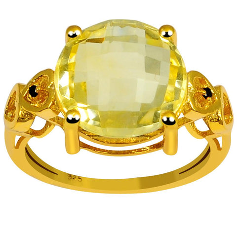 Orchid Jewelry 5.30 Carat Genuine Citrine & Black Spinel Sterling Silver Ring With Gold Plated