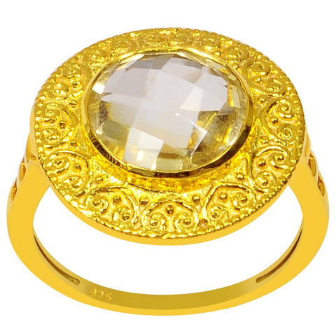 Orchid Jewelry 3.45 Carat Genuine Citrine 925 Sterling Silver Ring With 14K Gold Plated