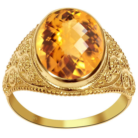 Orchid Jewelry 4.85 Carat Weight Genuine Citrine 925 Sterling Silver Ring With 14k Gold Plated