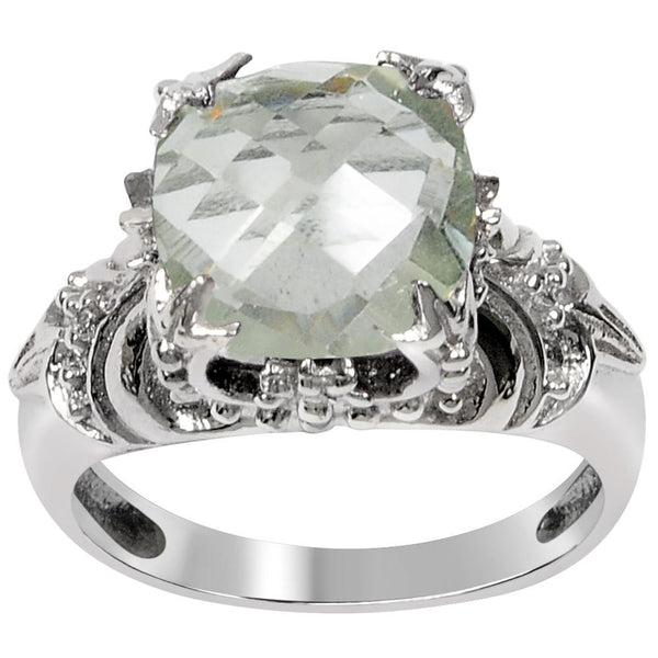 Orchid Jewelry 3.55 Carat Green Amethyst 925 Sterling Silver Ring
