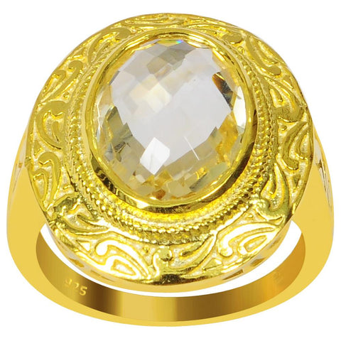 Orchid Jewelry 4.75 Carat Genuine Citrine Sterling Silver Ring With 14K Gold Plated
