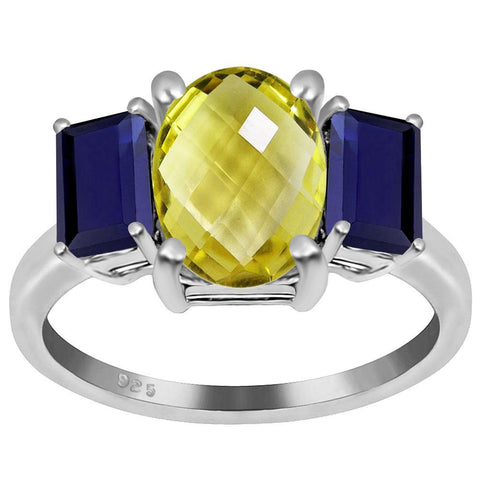 Orchid Jewelry 4.00 Carat Genuine Lemon Quartz and Sapphire Rhodium Finish Sterling Silver Ring