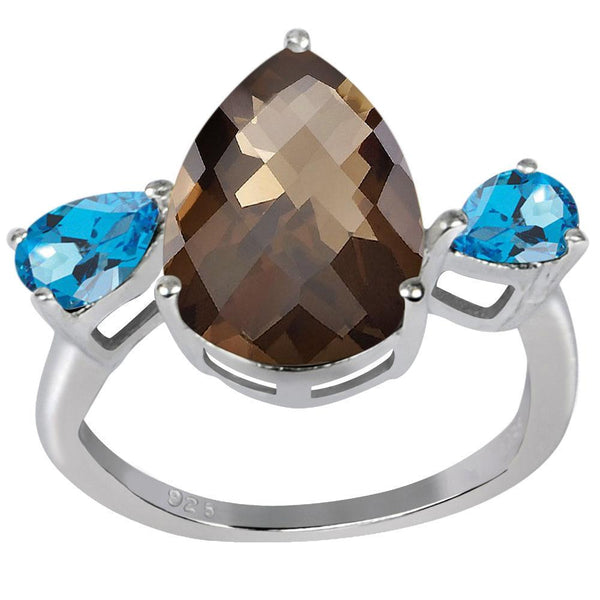 Orchid Jewelry 6.00 Carat Genuine Smoky Quartz and Blue Topaz Rhodium Finish Sterling Silver Ring