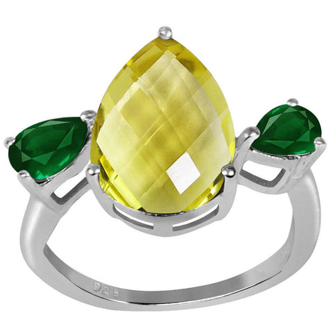 Orchid Jewelry 6.05 CTTW Genuine Lemon Quartz and Emerald Rhodium Finish St. Silver Ring