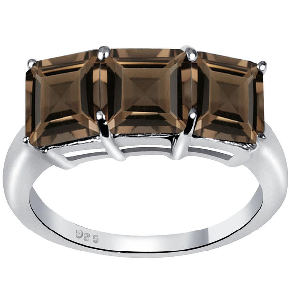 Orchid Jewelry 3.20 Carat Genuine Smoky Quartz  Rhodium Finish Sterling Silver Ring