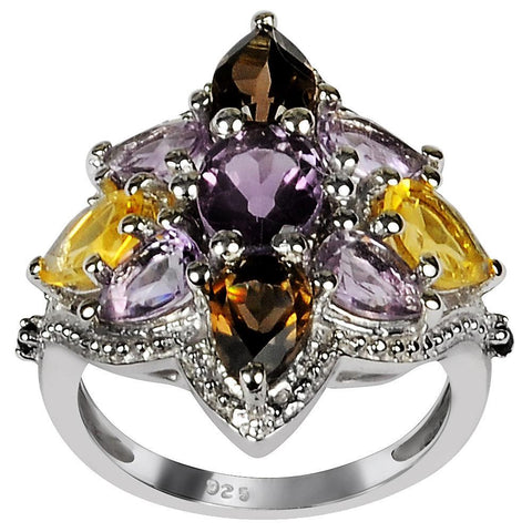 Orchid Jewelry 4.35 Carat Genuine Amethyst, Citrine, Smoky Quartz, and Sapphire Sterling Silver Ring