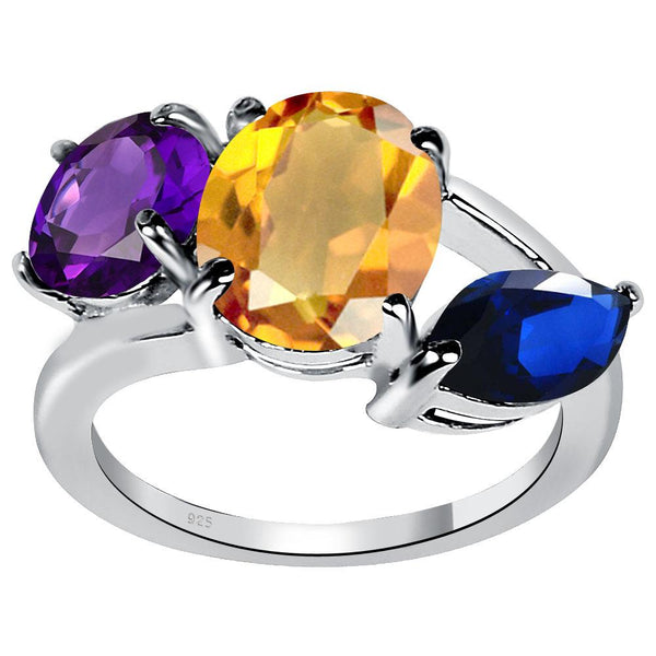 Orchid Jewelry 4.55 Carat Genuine Citrine, Amethyst and Sapphire Sterling Silver Ring