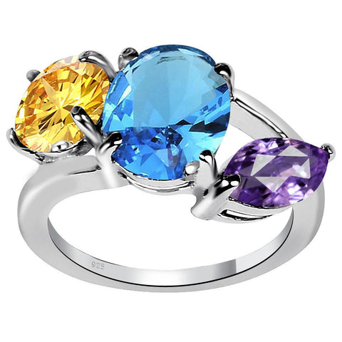 Orchid Jewelry 4.35 Carat Genuine Blue Topaz, Amethyst and Citrine Sterling Silver Ring