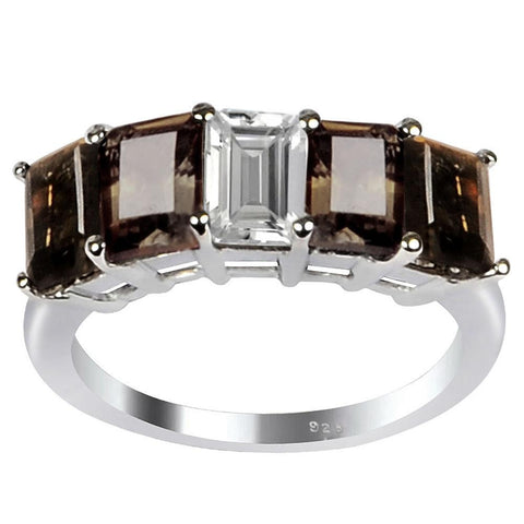 Orchid Jewelry 3.00 Carat Genuine Smoky Quartz and White Topaz Sterling Silver Ring