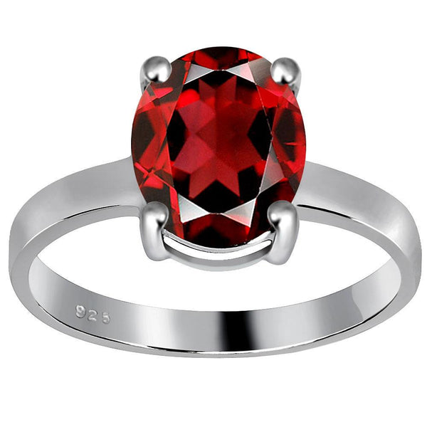 Orchid Jewelry 3.50 Carat Weight Genuine Garnet 925 Sterling Silver Ring