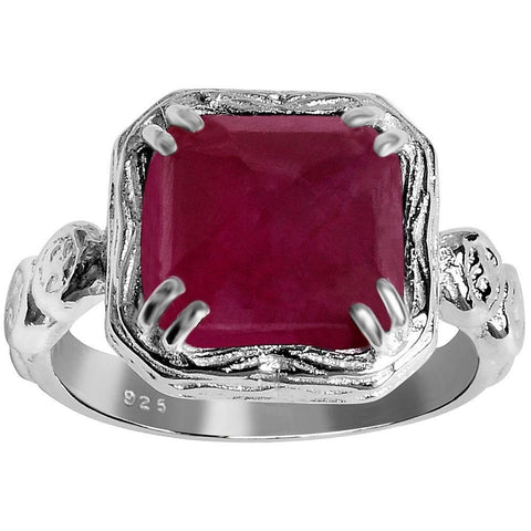 Orchid Jewelry 6.05 Carat Weight Genuine Ruby 925 Sterling Silver Ring