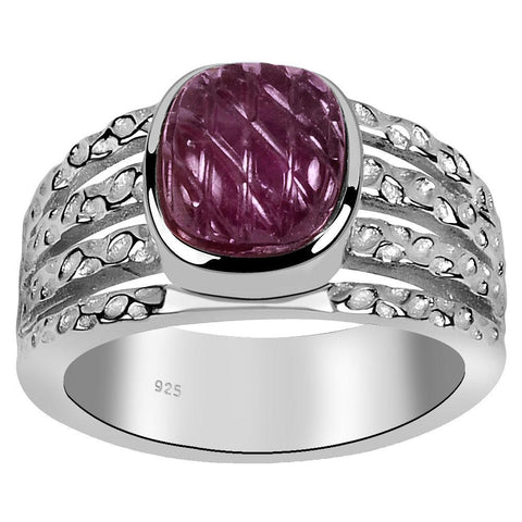 Orchid Jewelry 3.20 Carat Weight Genuine Ruby Carved 925 Sterling Silver Ring