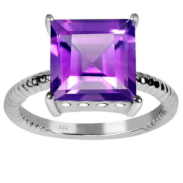 Orchid Jewelry Sterling Silver 4.55 Carat Genuine Amethyst Princess Cut Engagement Ring