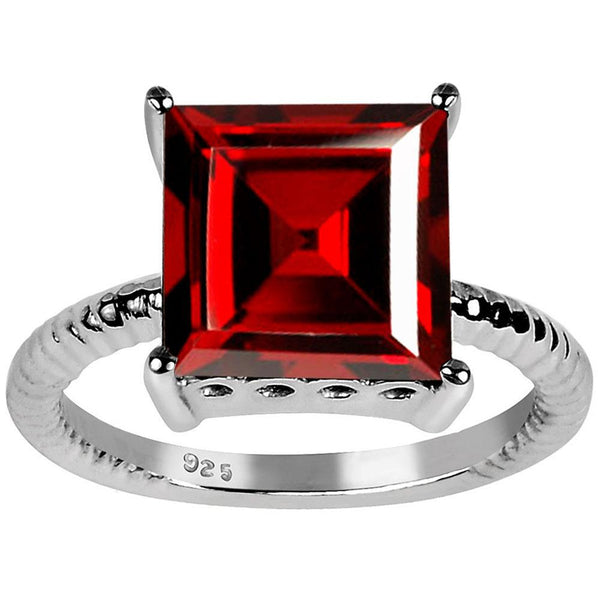 Orchid Jewelry Sterling Silver 5.80 Carat Genuine Garnet Princess Cut Ring