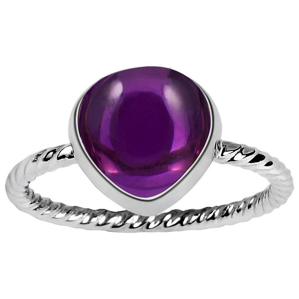 Orchid Jewelry 5.00 Carat Weight Genuine Amethyst Cabochon Heart 925 Sterling Silver Ring
