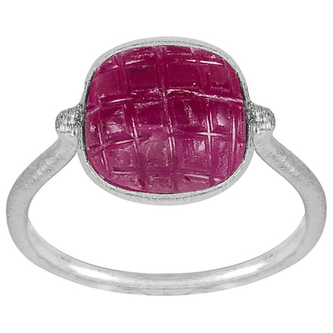 Orchid Jewelry 5.85 Carat Genuine Ruby Carved Gemstone Sterling Silver Handmade Ring