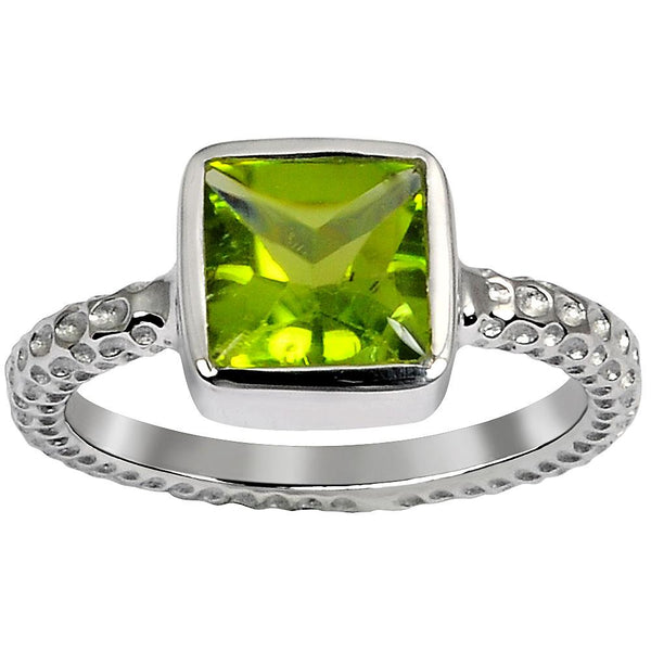 Orchid Jewelry 2.40 Carat Weight Genuine Peridot 925 Sterling Silver Hammered Ring