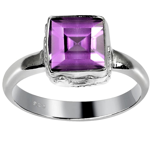 Orchid Jewelry 1.70 Carat Weight Genuine Amethyst 925 Sterling Silver Ring