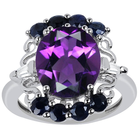 Orchid Jewelry 5.40 Carat Genuine Amethyst Sapphire and Cubic Zirconia 925 Sterling Silver Ring
