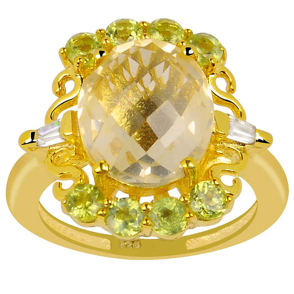 Orchid Jewelry 7.00 Carat Genuine Citrine, Peridot and Cubic Zirconia 925 Sterling Silver Gold Plated Ring